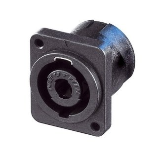 Neutrik NL4MP-M3 Speakon 4 pole chassis connector, black D-size flange, M3 threaded insert, 3/16 flat tabs