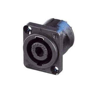 Neutrik NL4MP-UC Speakon 4 pole chassis connector for 40 A rms continuous, 50 A audiosignal duty cycle 50%. Black D-size flange, countersunk thru holes, 1/4 flat tabs