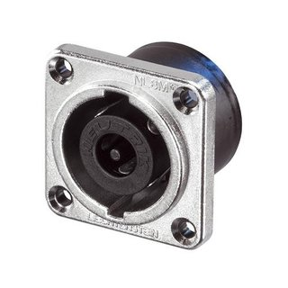 Neutrik NL8MPR Speakon 8 pole chassis connector, nickel metal square G-size flange, countersunk thru holes, 3/16 flat tabs