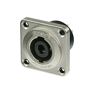 Neutrik NLT4MP Speakon 4 pole male chassis connector, metal housing, solder or ¼ flat tabs