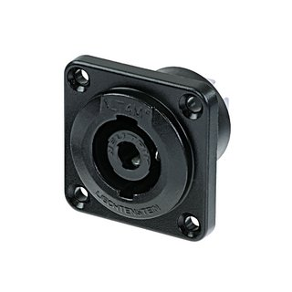 Neutrik NLT4MP-BAG Speakon 4 pole male chassis connector, black-chrome metal housing, solder or ¼ flat tabs